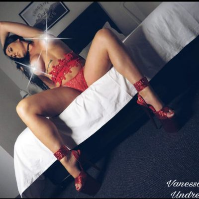 Vanessa Red lingerie and topless waitress