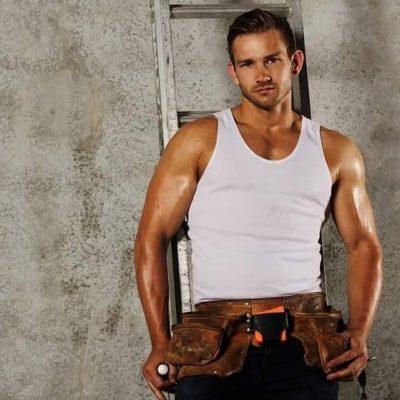 royce in handyman outfit male strip