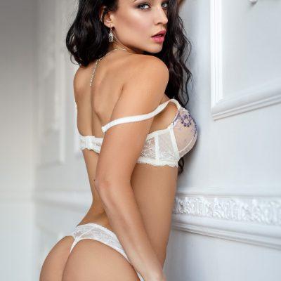 model in white lingerie